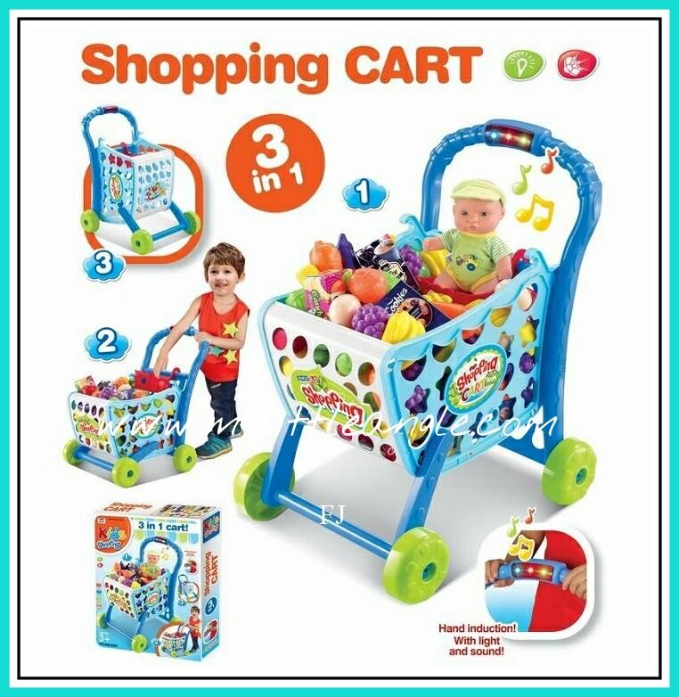 ตระกร้าช๊อปปิ้งใหม่ shopping Cart สีฟ้า มีเสียง มีไฟ ส่งฟรี