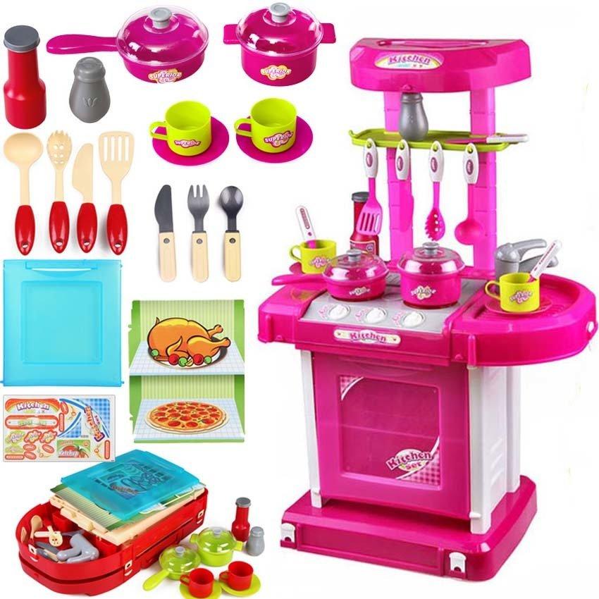 ชุดโต๊ะครัวกระเป๋าหิ้ว New Kitchen Set ส่งฟรีสีชมพุ