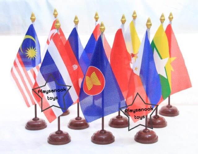 PF-011 ธงอาเซียนตั้งโต๊ะพลาสติก