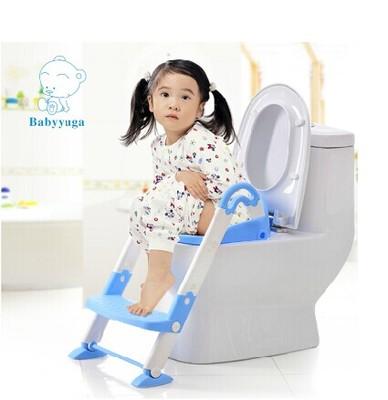 ฝารองชักโครกเด็กแบบมีบันไดปรับสูงต่ำได้ baby yuga พร้อมส่งสีเขียว และสีฟ้า ส่งฟรี