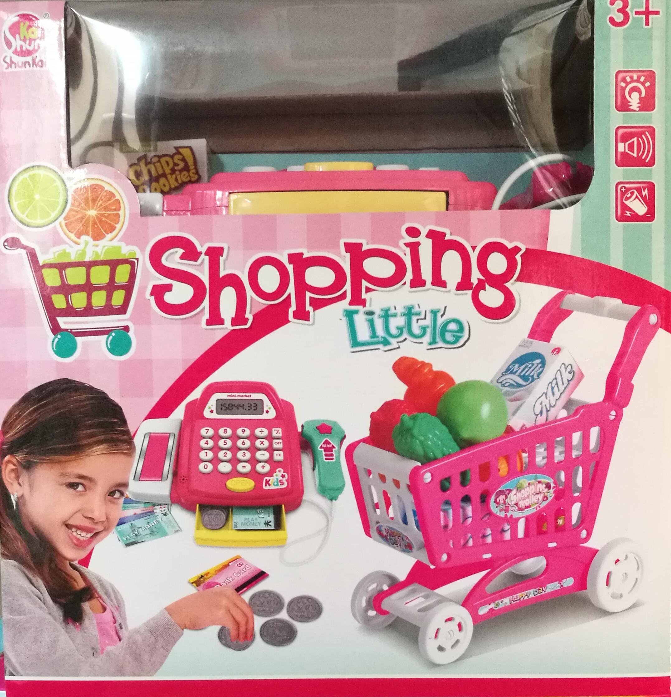 ชุดแคชเชียร์ตั้งโต๊ะ Shopping Little พร้อมตะกร้ารถเข็น ส่งฟรีพัสดุไปรษณีย์