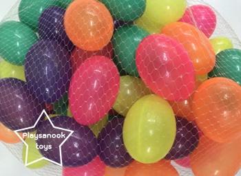 PS-1211 ลูกบอลทรงไข่(พลาสติก)ถุงละ 20 ลูก