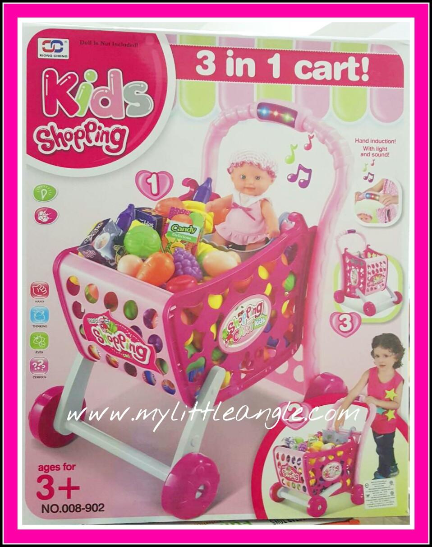 ตระกร้าช๊อปปิ้งใหม่ shopping Cart สีชมพู ส่งฟรี