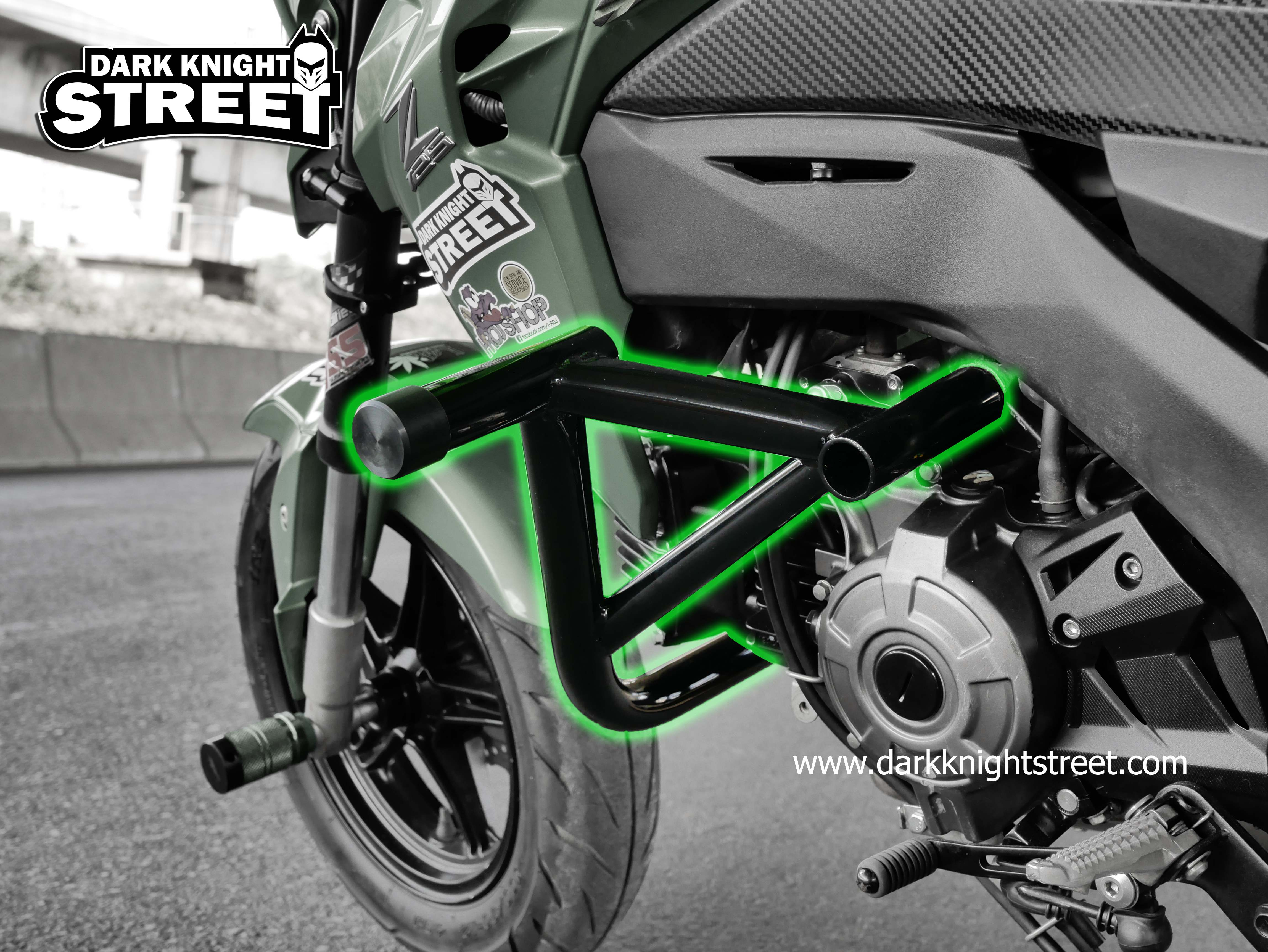 Kawasaki Z125 Crash cage + 12 bar subcage all black