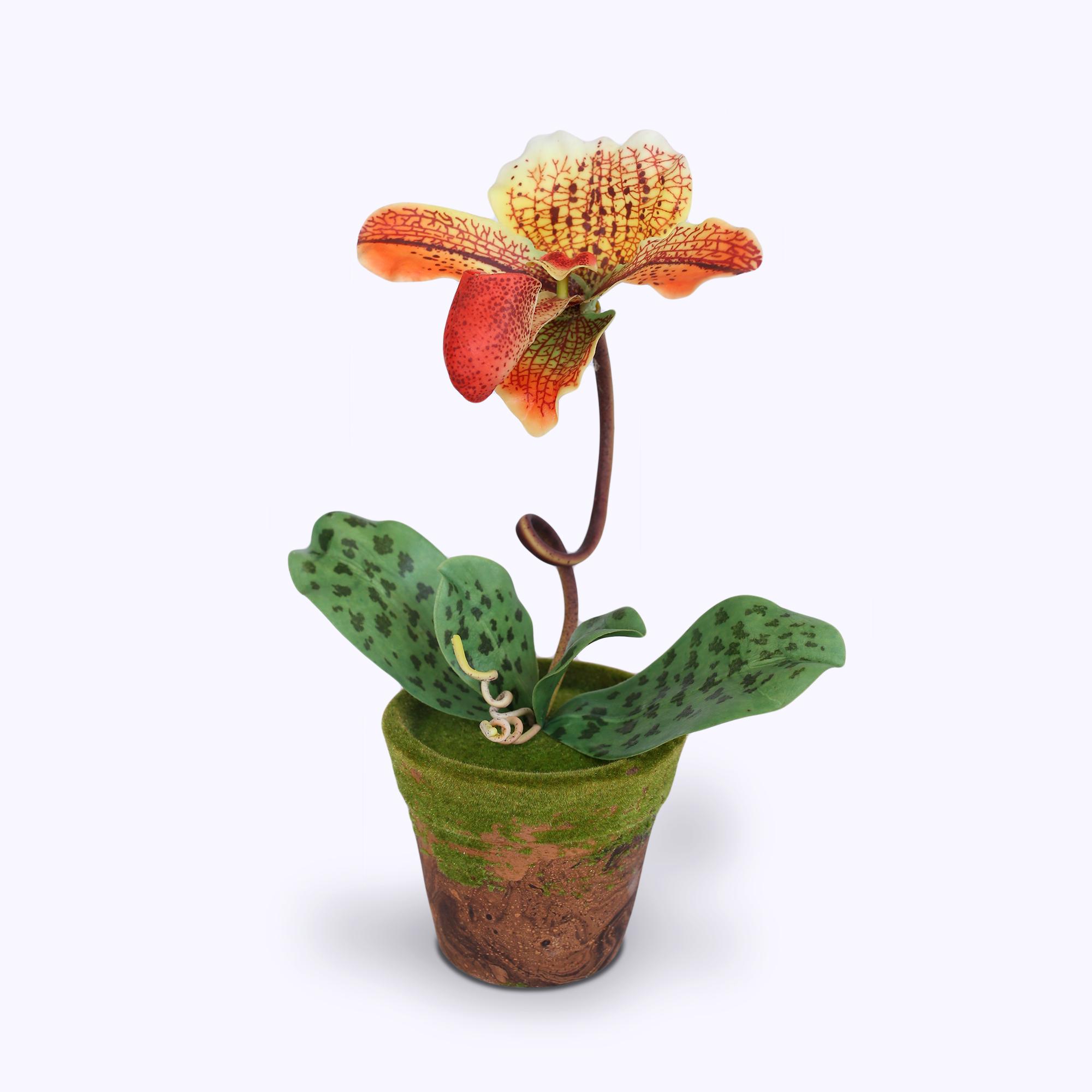 แจกันดอกไม้ประดิษฐ์ รองเท้านารี สีส้ม ในกระถางดินเผาลายไม้ประดับมอสเทียม สำหรับตกแต่งบ้านแนวธรรมชาติหรือรีสอร์ท