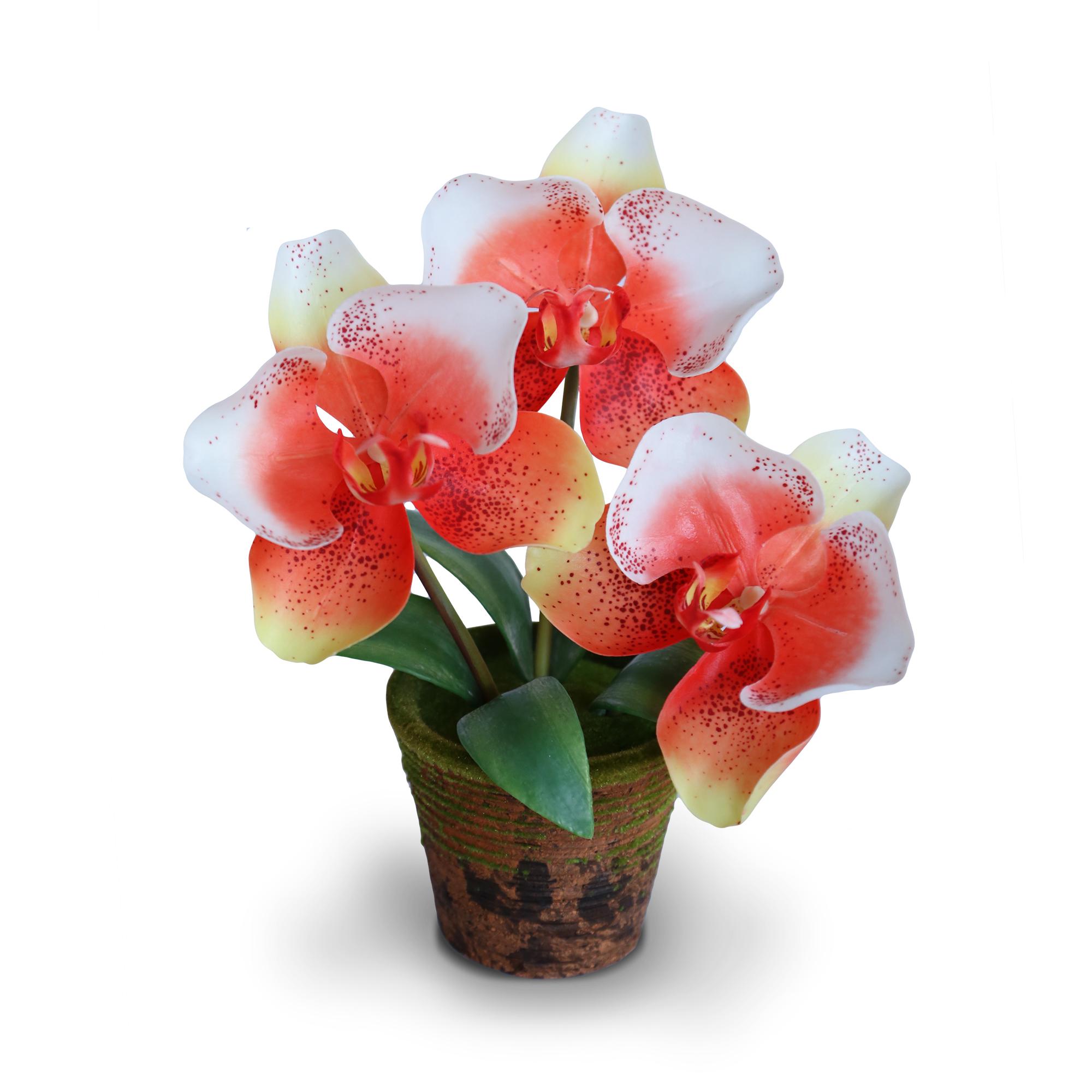 HDTAR170002 Phalaenopsis3 OR จำหน่ายแจกันดอกไม้ประดิษฐ์ฟาแลนนอปซิส สีส้ม ขนาดย่อมสไตล์ธรรมชาติรีสอร์ท เหมาะสำหรับตกแต่งโต๊ะ หรือมุมต่างๆให้ดูสวยงาม
