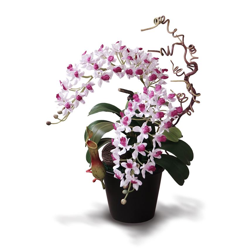 แจกันดอกไม้ประดิษฐ์ ช้างกละ Rhynchostylis Gigantea สีขาวครีมออร์คิท ในแจกันเซรามิคอย่างดี