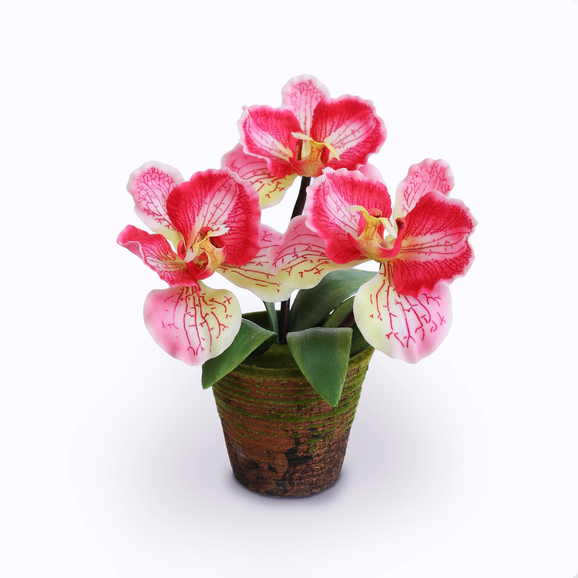 แจกันดอกไม้ประดิษฐ์ ฟาแลนนอฟซิส สีชมพู ขนาดกระทัดลัดเหมาะสำหรับตกแต่งโต๊ะ หรือมุมส่วนตัวต่างๆให้ดูเป็นธรรมชาติสวยงาม