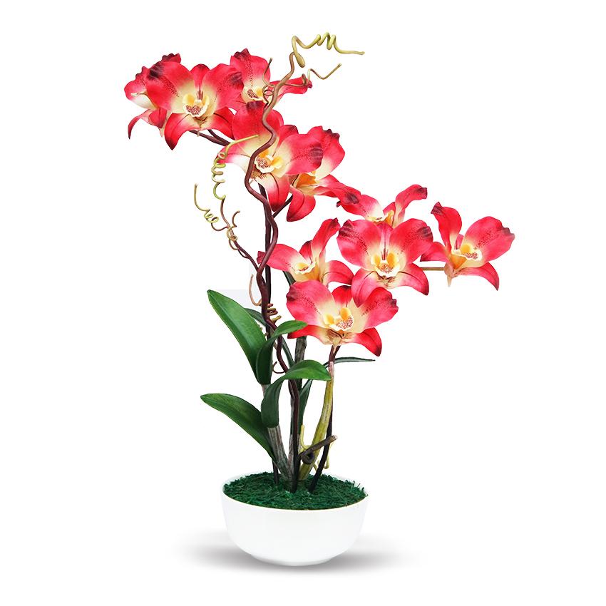 แจกันดอกไม้ประดิษฐ์ เดนโดรเบียม Dendrobium สีแดง ในแจกันเซรามิค จากโรงงานผู้ผลิตโดยตรง