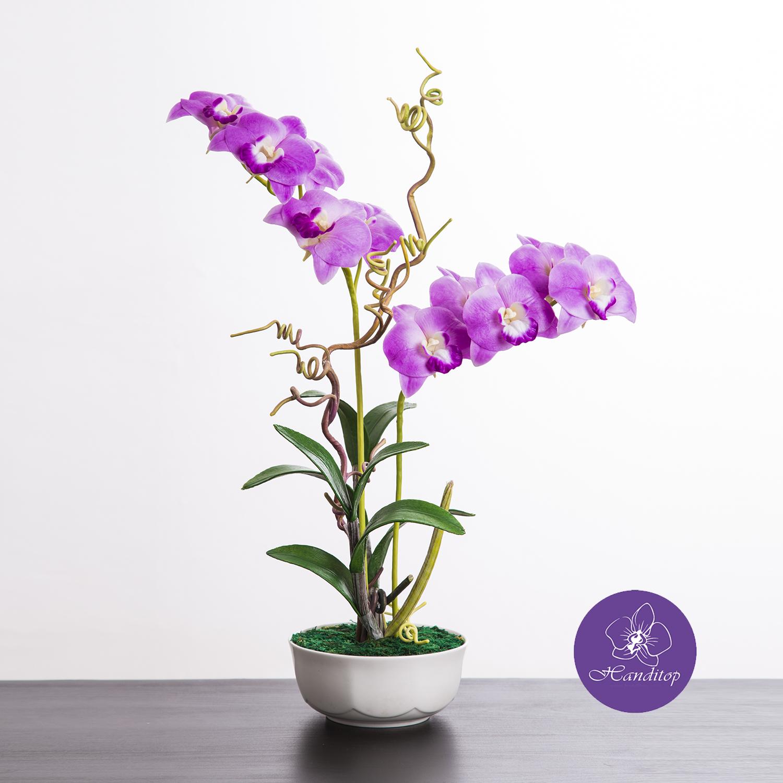 แจกันดอกไม้ประดิษฐ์ เดนโดรเบียม Dendrobium สีม่วง ในแจกันเซรามิค