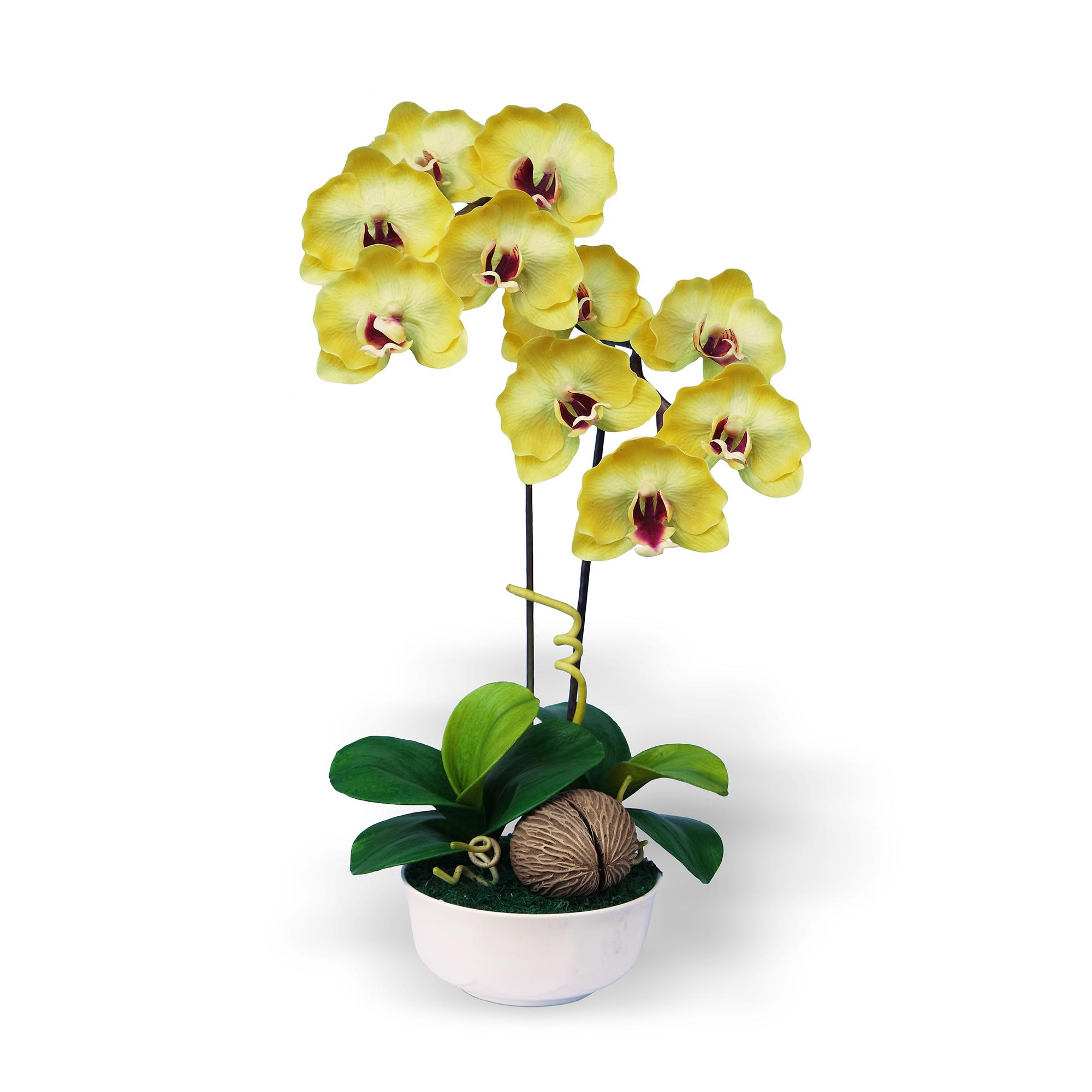 แจกันดอกไม้ประดิษฐ์ ฟาแลนนอฟซิส Phalaenopsis สีเหลือง ในแจกันเซรามิค จากโรงงานผู้ผลิตโดยตรง
