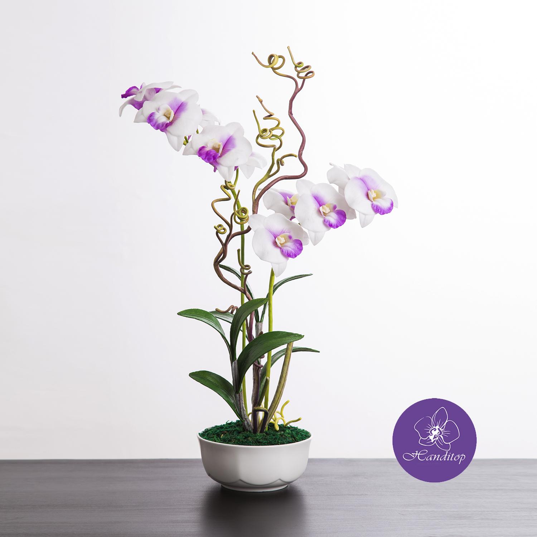แจกันดอกไม้ประดิษฐ์ เดนโดรเบียม Dendrobium สีครีมม่วง ในแจกันเซรามิค