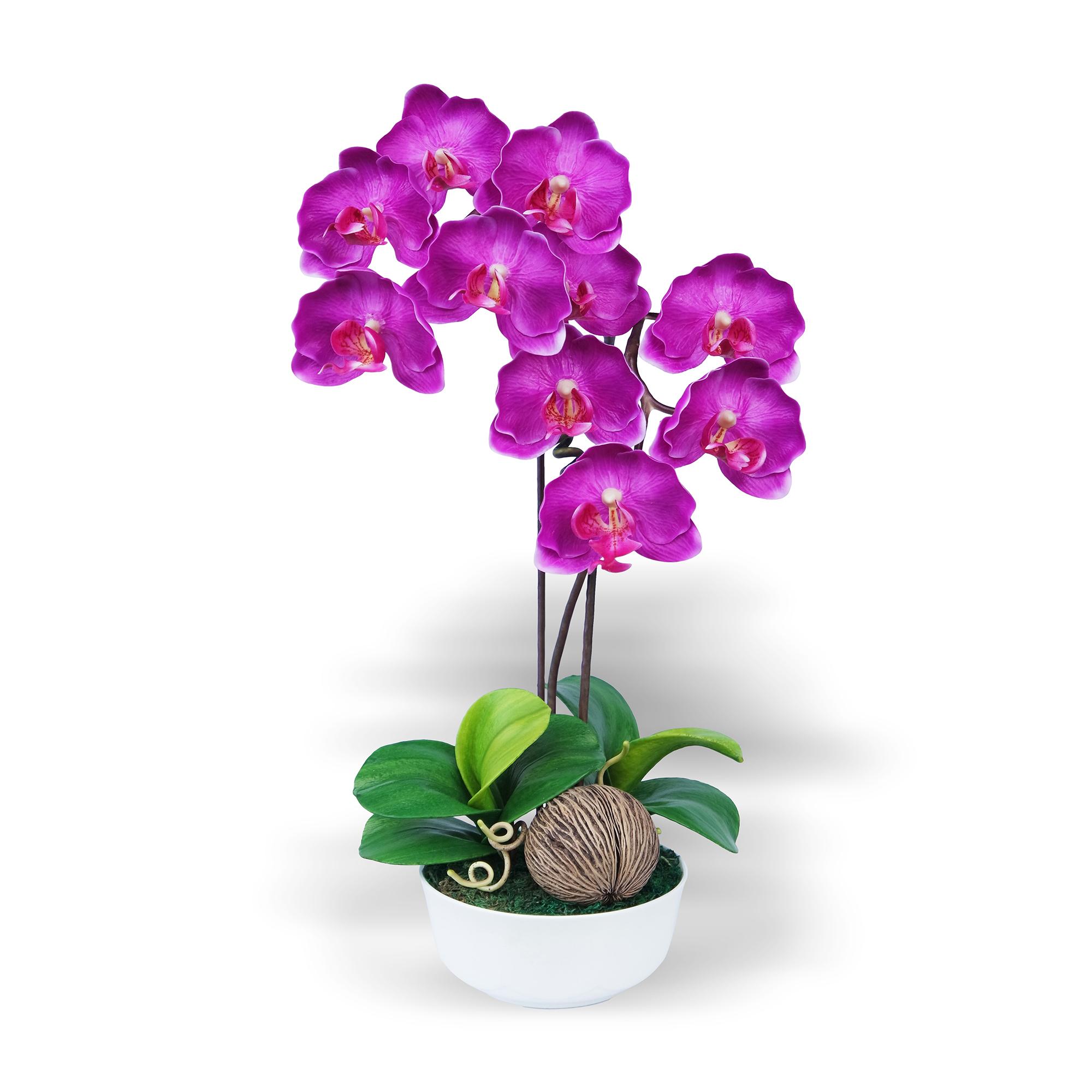 แจกันดอกไม้ประดิษฐ์ ฟาแลนนอฟซิส Phalaenopsis สีออร์คิท ในแจกันเซรามิค จากโรงงานผู้ผลิตโดยตรง