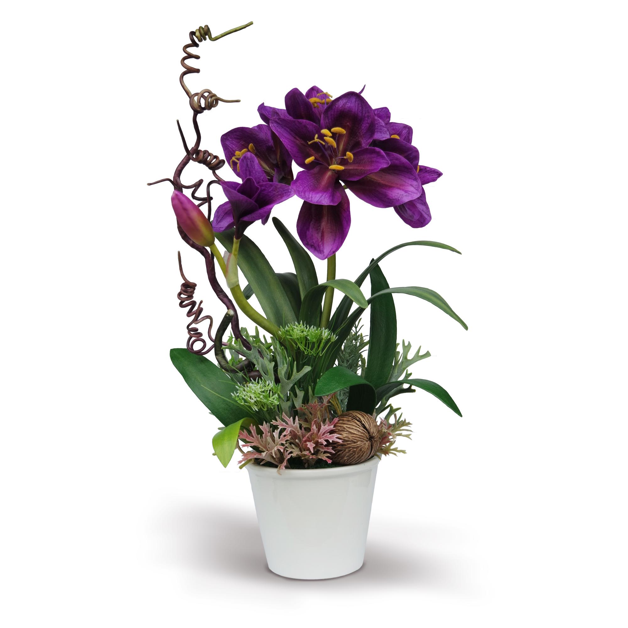 แจกันดอกไม้ประดิษฐ์เหมือนดอกไม้จริงมาก ว่านสี่ทิศ Amaryllis สีม่วงเข้ม