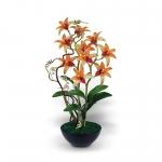จำหน่ายแจกันดอกไม้ประดิษฐ์ เดนโดรเบียม Dendrobium สีเหลืองส้ม ในแจกันเซรามิคสีดำ