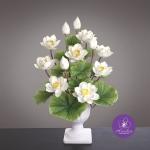 แจกันดอกบัวปลอมแฮนดิท็อพ เพื่อบูชาพระ ถวายวัด หรือเป็นของขวัญขึ้นบ้านใหม่ ดอกบัวหลวงขนาดใหญ่สีขาว 12 ดอก