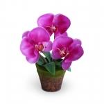 แจกันดอกไม้ประดิษฐ์ ฟาแลนนอฟซิส สีชมพูเข้ม ขนาดกระทัดลัดเหมาะสำหรับตกแต่งโต๊ะ หรือมุมส่วนตัวต่างๆให้ดูเป็นธรรมชาติสวยงาม