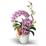 แจกันดอกไม้ประดิษฐ์ ช้างกละ Rhynchostylis Gigantea สีม่วง ในแจกันเซรามิคอย่างดี