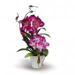 แจกันดอกไม้ประดิษฐ์ ว่านสี่ทิศ Amaryllis สีออร์คิท เป็นดอกไม้ที่มีความหมายถึงมีความสำเร็จในหน้าที่การงานเป็นอย่างดี