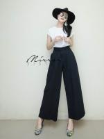 กางเกงเอวสูงขากระบอกแฟชั่นสีดำ